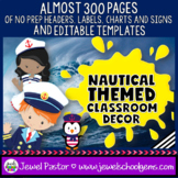 Nautical Theme Classroom Decor EDITABLE (Nautical Classroom Theme Decor)