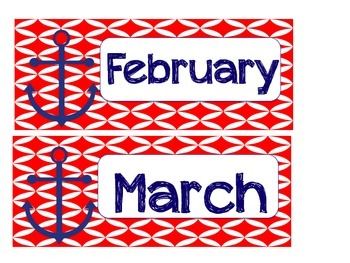 Nautical Theme Anchor Months