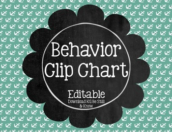 Nautical Theme Behavior Clip Chart (Editable)