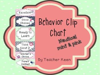 Nautical Theme Behavior clip chart (mint and pink chevron)