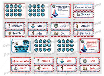 Calendar Math Set Bilingual English-Spanish Nautical-Theme