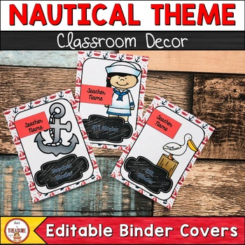 Nautical Theme Binder Cover and Spines (editable)