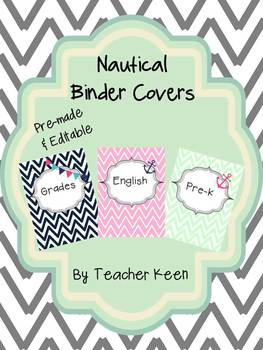 Nautical Theme Binder Covers (mint and pink chevron)