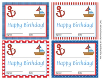 Nautical Theme Birthday Certificates