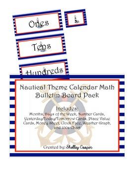 Nautical Theme Calendar Math Bulletin Board Pack