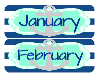 Nautical Theme Calendar Mint and Navy