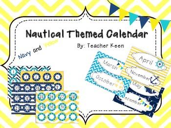 Nautical Theme Calendar (Navy and Yellow)