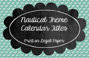 Nautical Theme Calendar Titles