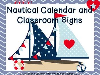 Nautical Theme Calendar and Classroom Super Pack EDITABLE
