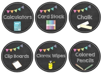 Nautical Theme / Chalkboard Theme Classroom Decor Bundle labels, binder covers..