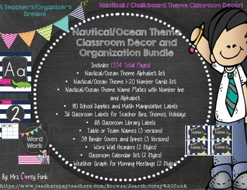 Nautical Theme / Chalkboard Theme Classroom Decor Bundle labels, binder covers..