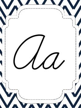 Nautical Theme Chevron Cursive Alphabet - Mint and Pink