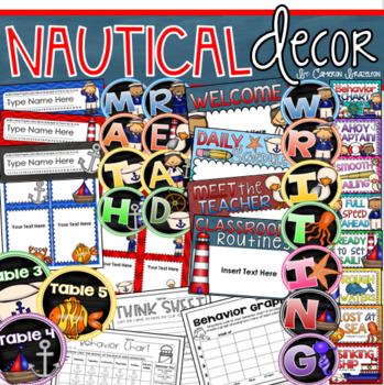 Nautical Theme Class Decor Bundle (Behavior Chart, Name Plates, Labels, Signs)