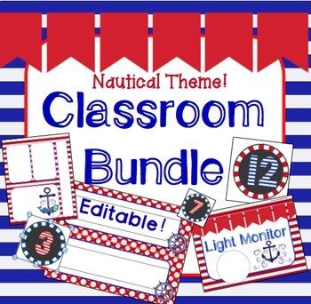Nautical Theme Classroom Bundle: Jobs, Newsletters, Nameplates