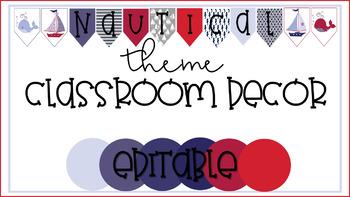 Nautical Theme Classroom Decor-EDITABLE