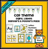 Cat Theme Classroom Decor EDITABLE (Cat Classroom Theme Decor)