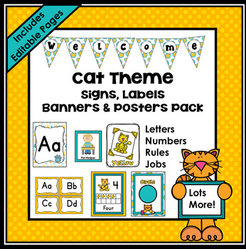 Cat Theme Classroom Decor EDITABLE (Cat Classroom Theme Decor)