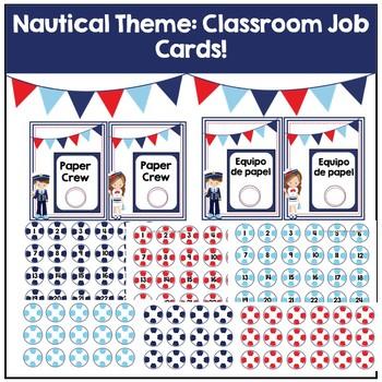 Nautical Theme Classroom Job Cards
