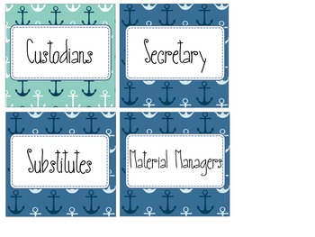 Nautical Theme Classroom Jobs