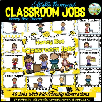 Classroom Jobs {EDITABLE Honey Bee Themed}