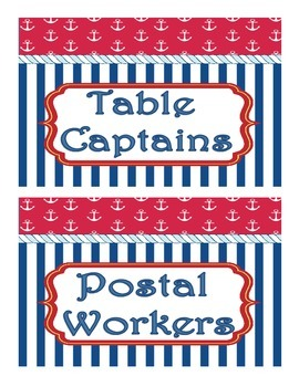 Nautical Theme Classroom Jobs Display