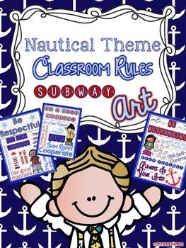 Nautical Theme Classroom Rules Subway Art