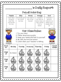 Nautical Theme Clipchart and Behavior Report