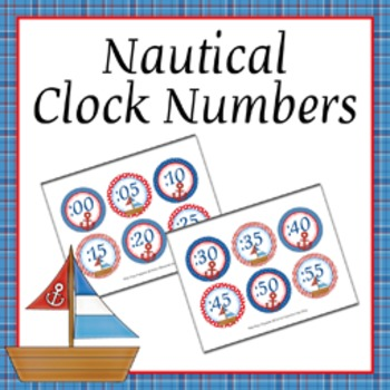 Nautical Theme Clock Number Labels