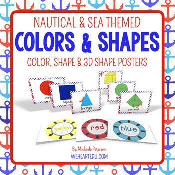 Nautical Theme Color and Shape Posters {includes 3D shapes}