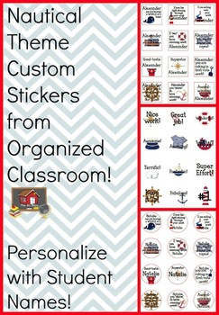 Nautical Theme Custom Student Stickers