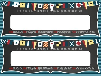 Nautical Theme Desk Nametags with alphabet and numbers