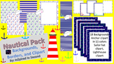 Nautical Theme Digital Paper, Backgrounds, Clipart