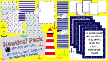 Nautical Theme Digital Paper, Backgrounds, Clipart