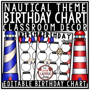 image about Birthday Chart Printable known as Nautical Concept: Editable Birthday Chart Printable