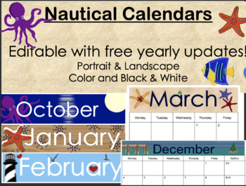 Nautical Theme Editable Calendar (Color and Coloring Book Styles)