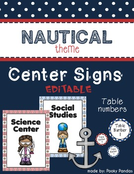 Nautical Theme - Editable Center Signs and Table Numbers- Classroom Decor