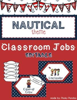 Nautical Theme - Editable Classroom jobs - Classroom Decor