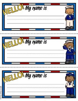 Nautical Theme - Editable Name Tags - Classroom Decor