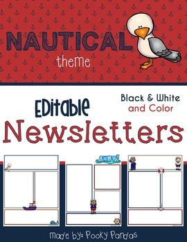 Nautical Theme - Editable Newsletters BW and Color