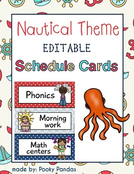 Nautical Theme - Editable Schedule Cards- Classroom Decor
