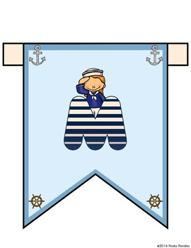 Nautical Theme - Editable Welcome Banner and Wall Strips- Classroom Decor