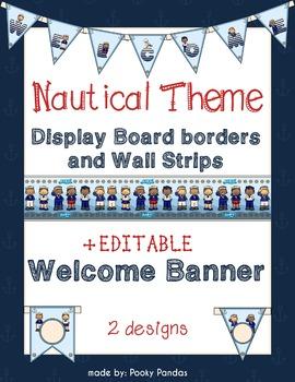 Nautical Theme - Editable Welcome Banner and Wall Strips-