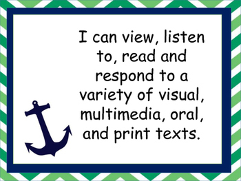 Nautical Theme Grade 5 Language I Can Statements
