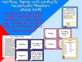 Nautical Theme Grade Four CCSS Complete Vocabulary Program