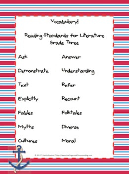 Nautical Theme Grade Three CCSS Complete Vocabulary Program