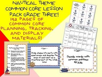 Nautical Theme Grade Three Common Core Lesson Planning Pack