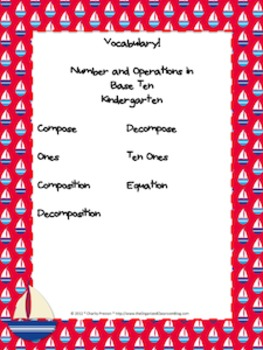 Nautical Theme Kindergarten CCSS Complete Vocabulary Program
