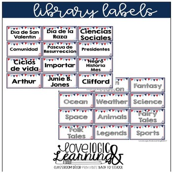Nautical Theme Library Labels