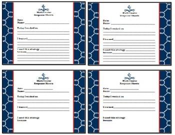 Nautical Theme - Math Center Response Sheet