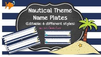 Nautical Theme Name Plates Ocean Theme Beach Theme EDITABLE Name Plates
